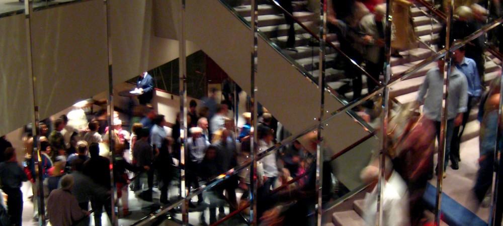 Crowd decending stairs