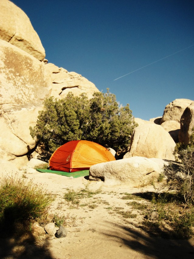 Our tent nesseled in stone